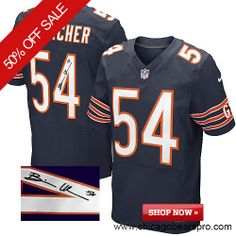 $129.99 Men's Nike Chicago Bears #54 Brian Urlacher Elite Team Color Blue NFL Alternate Autographed Jersey