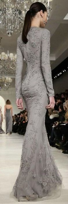 Stunning long sleeved grey lace gown #AW14...x