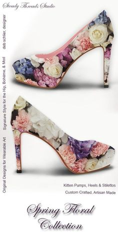 """Try our classic slip-on style women's heels. Custom made, printed canvas heels with original textile design by Steady Threads Studio create a vintage """"pin-up"""" style look that finishes any outfit in grand style. Available in 3 different heel sizes and profiles to suit your every outfit and personal level of comfort. #shoelovers #highheels #bridesmaidgifts #shoeporn #bohostyle #designerheels #pinupstyle #floralshoes"""