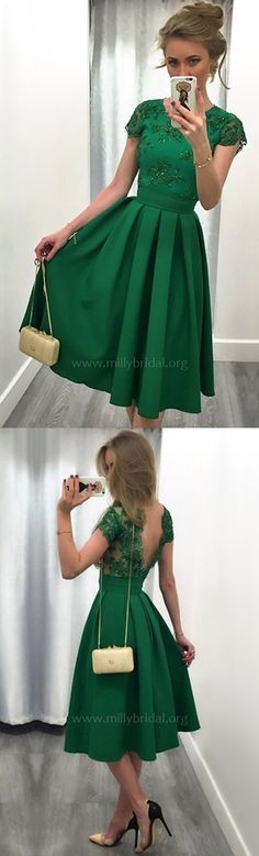 Green Prom Dresses,Short Homecoming Dresses,Lace Cocktail Dresses For Girls,Elegant Party Dresses Unique #Homecomingdresses