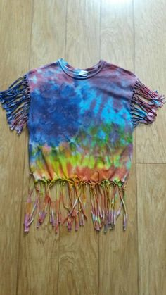 Tie Dye Shirt Fringe Tie Dye Shirt Blue Red by MessyMommasTieDyes