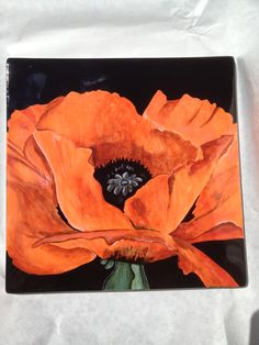 """Painted pottery Georgia O'Keefe """"red poppy"""" recreated on a ceramic tile"""