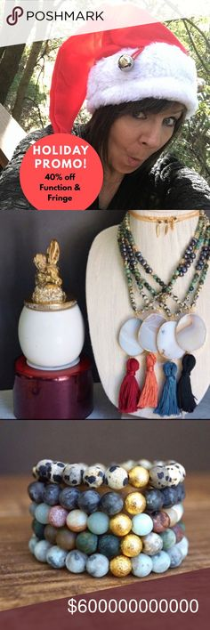 Holiday Promo  40% Off Function & Fringe! Black Friday deals start early here! This weekend, it's 40% off all Function & Fringe. Great gifts and stocking stuffers!!! Function & Fringe Jewelry