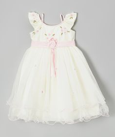 Ivory & Pink Rosette Angel-Sleeve Dress