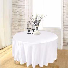 108 Round White Plastic Tablecloth