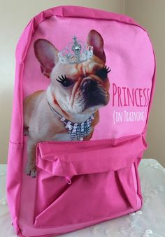 French Bulldog Dog Princess Tiara Pretty Pink Backpack Little Kids Overnight Bag #MomentumBrands