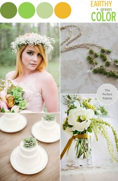 Color Story | Earthy + Green Color, pay attention to those succulent cakes:)