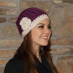Crochet cloche hat women's hat with flower beanie warm winter hat black purple cap