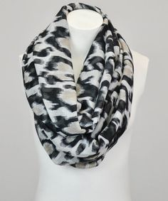 Love this Leto Collection White & Khaki Leopard Infinity Scarf by Leto Collection on #zulily! #zulilyfinds