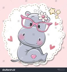 Illustration about Cute cartoon Hippo girl in pink eyeglasses. Illustration of childhood, card, character - 125028320 Cartoon Hippo, Cute Cartoon Animals, Cute Baby Animals, Cute Hippo, Baby Hippo, Elephant Illustration, Cute Illustration, Cartoon Drawings, Cute Drawings