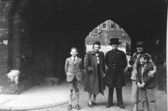 Marguerite deAngeli at Tower of London with Winifred Nerney, Doubleday's London representative and unidentified boys during research trip for Door in the Wall.