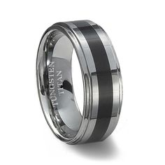 Mens Black Resin Inlay Tungsten Wedding Band ~ Tungsten Titan