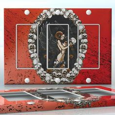 DIY Do It Yourself Home Decor - Easy to apply wall plate wraps | The Succubus Naked demon woman with skulls and wings wallplate skin sticker for 3 Gang Decora LightSwitch | On SALE now only $5.95