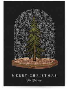"""Snow globe Tree"" - Customizable Business Holiday Cards in Black by Baumbirdy. Christmas Design, Christmas Art, Beautiful Christmas, Xmas, Corporate Holiday Cards, Business Holiday Cards, Christmas Balls, Christmas Wreaths, Christmas Decorations"