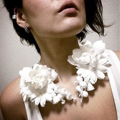 Manami K Neck Corsage with silk linen cotton @Manami K