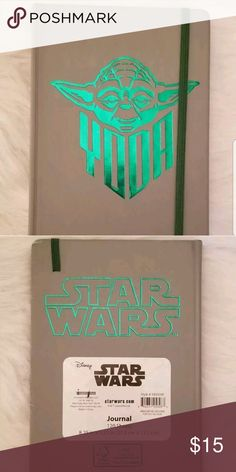 "Star Wars Yoda Leatherette Journal Yoda Leatherette Journal embossed with Green foil. 8.25"" X 5.25"" 120 lined sheets of FSC certified paper. Color: Grayish taupe and Green. Condition: New w/ tag. However, it has some nicks. Star Wars Other"