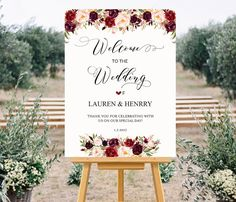Printable Wedding Welcome Sign Templates  Floral by aDaySpecial