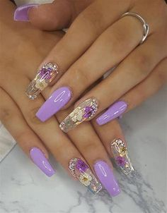 There are three kinds of fake nails which all come from the family of plastics. Acrylic nails are a liquid and powder mix. They are mixed in front of you and then they are brushed onto your nails and shaped. These nails are air dried. Glam Nails, Bling Nails, Beauty Nails, Cute Nails, Pretty Nails, My Nails, Bling Nail Art, Purple Manicure, Purple Glitter Nails