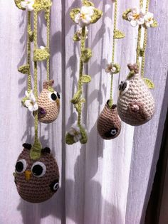 Handmade crochet baby nursery cot mobile with owls by CraftySue77, $58.00