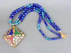 Colourful Lapis Lazuli and Aventurine stones necklace with Vermeil findings and big oriental pendant