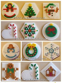 Wholepics -- Wholepics – christmas in hama beads models objects for fir – Stéphanie PEYRONNEAU - Hama Beads Design, Diy Perler Beads, Perler Bead Art, Pearler Beads, Fuse Beads, Melty Bead Patterns, Pearler Bead Patterns, Perler Patterns, Beading Patterns