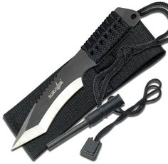 Survivor HK-759 Fixed Blade Knife, Two-Tone Tanto Blade, Black Cord-Wrapped Handle, 7-Inch Overall