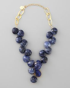 Devon Leigh Blue Sodalite Necklace -Love big gemstone jewelry www.tanyalochridge.com.