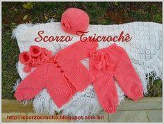Scorzo Tricroche: Conjunto completo de roupa de bebê feito de crochê - square hexagonal/octogonal