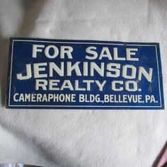 Antique Embossed Tin Real Estate Advertising Sign