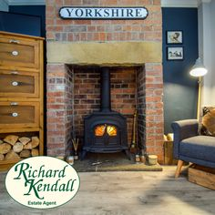 George Street, Ryhill - Cast iron multi-fuel burning stove on a stone hearth with exposed brick back Cosy Fireplace, Wakefield, Exposed Brick, Hearth, Cast Iron, Stove, Home Appliances, Wood, Log Burner