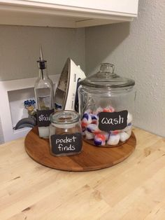 You'll never know what you will find when you do laundry, but these jars will definitely help tame the clutter.