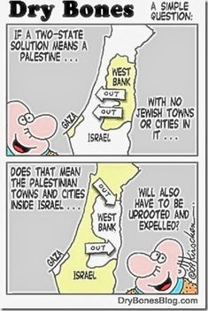No Jews Palestine - Dry Bones Are you aware the collusion of USA, EU and the UN to promote sovereign Palestinian State includes PA-PLO Islamic terrorists to make the area Jew-free EVEN THOUGH 20% of the Israel population are Arab Muslims?