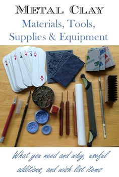 A detailed list of basic, nice-to-have and specialty materials, tools, supplies and equipment for working with metal clay. Learn how to build a metal clay toolkit or see what's missing from your kit.