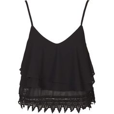 Lace Trim Cami Top by Glamorous Petites ($30) ❤ liked on Polyvore featuring tops, blusas, black, shirts, tank tops, v neck camisole, v neck tank top, v-neck tank top, strappy tank top and v-neck shirts