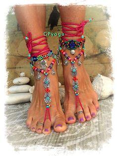 Hot Pink BIKINI BAREFOOT sandals Tribal Ibiza summer Toe