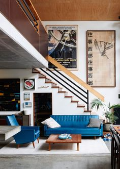 A pop of blue for the living room
