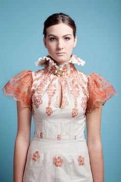 Coral Lace Dress by monicamanderlay on Etsy, $600.00