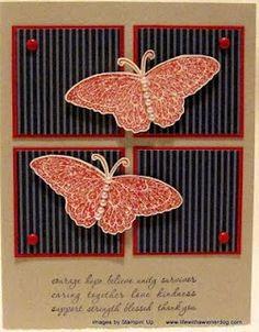 Pretty butterfly card, can use SU Strength and Hope butterfly, inchies.  like the red brads in the corners