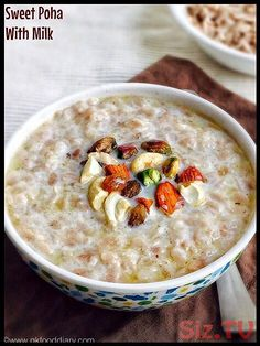 Poha/beaten rice/Flattened rice/aval is a tasty breakfast option for kids and nutritious too. Sweet poha recipe is suitable for babies of age one year as it mad Indian Baby Food Recipes, Indian Dessert Recipes, Sweet Recipes, One Year Baby Food, Baby Food By Age, Toddler Meals, Kids Meals, Toddler Food, Poha Recipe