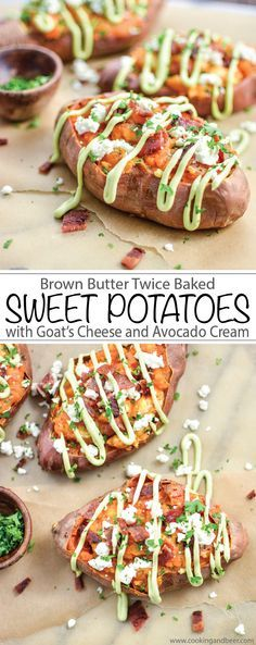 Brown Butter Twice Baked Sweet Potatoes with Goat's Cheese and Avocado Cream recipe is perfect Easter brunch or dinner!   www.cookingandbeer.com