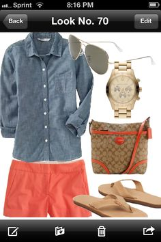 Chambray and coral