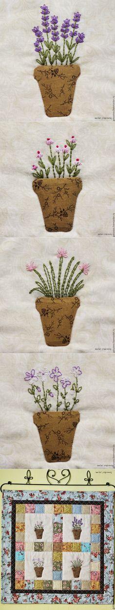 Создаем панно 'Цветочная лавка' - Ярмарка Мастеров - ручная работа, handmade Pot Holders, Embroidered Flowers, Hot Pads, Potholders