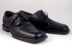 Axcess Shoes Men Black Leather Size 9.5 Oxfords Dress Lace Up Square Toe #axcess #Oxfords