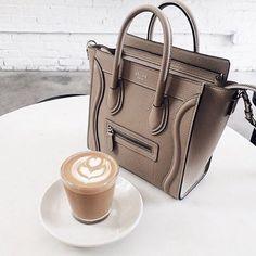 Delicious latte and Celine bag for happy Wednesday. #inspiration #morningroutine #coffee #coffeetime #machiatto #celine #celinebag #goodmorning #lifestyle #fabfashionfix