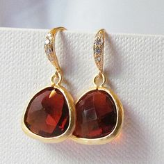 brown and gold earrings brown drop earrings dangle by twixtdesigns