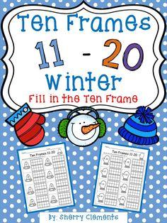Ten Frames 11-20 Winter (Fill in the Ten Frames) - kindergarten - first grade - math centers - homework - morning work - minilessons - interventions - $