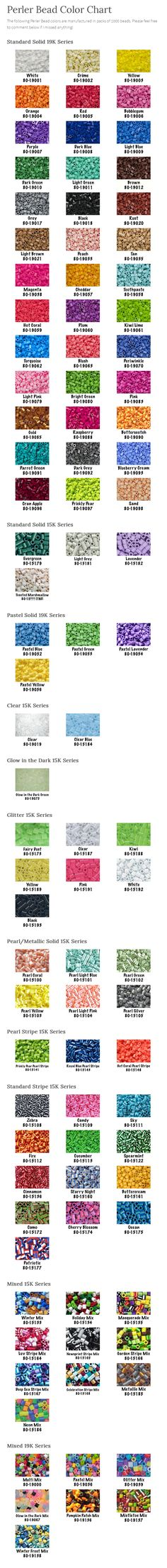 Perler Bead Color Chart by CraftyMe503 - *she'll be updating colours she missed, so the image above might not be up to date. But the link still takes you to her up to date colours list...