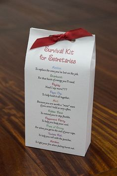 What a great little gift for the secretary in your life. Often overworked and under appreciated, this survival kit will brighten their day. So
