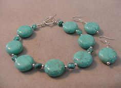TURQUOISE BRACELET and EARRINGS Set Puffed by Magicclosetbling, $25.00