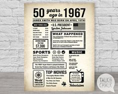Aanpasbare 50e verjaardag digitale Poster, 50e verjaardag afdrukbare teken, krant-stijl, 50ste Gift van de verjaardag, 1967 ondertekenen, 1967 Poster